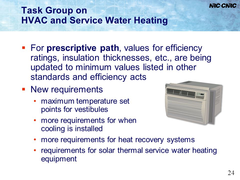 Task Group on HVAC and Service Water Heating
