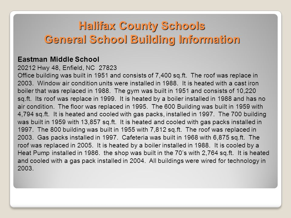 Halifax County Schools General School Building Information