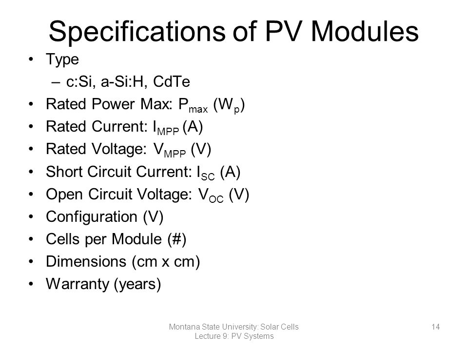 Specifications of PV Modules