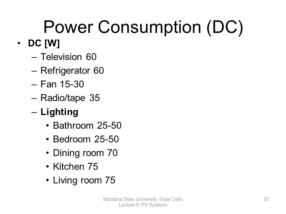 Power Consumption (DC)