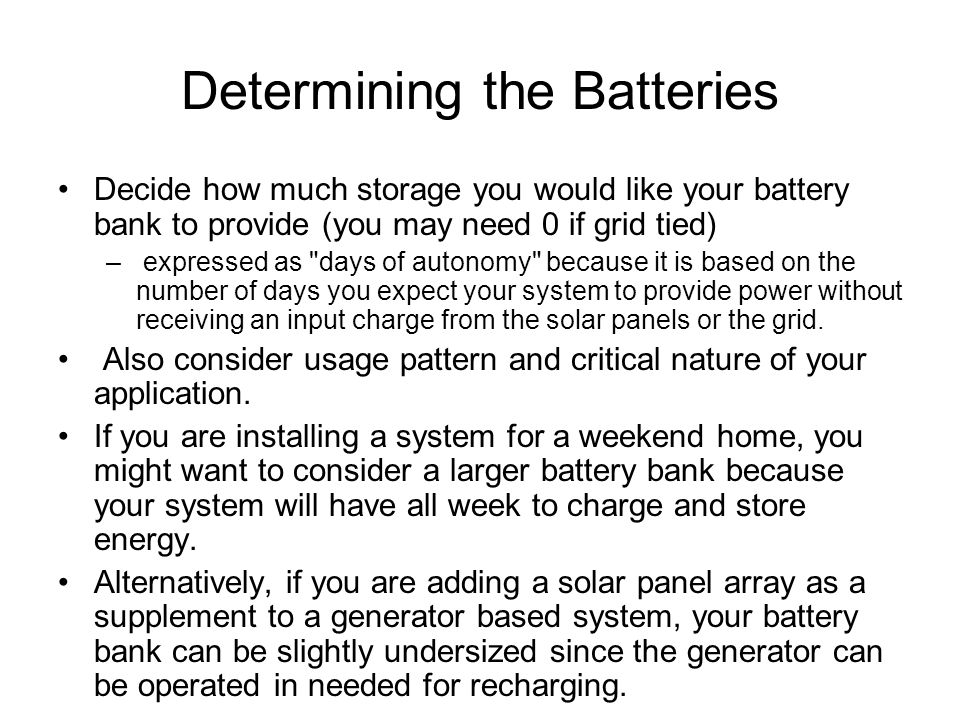 Determining the Batteries