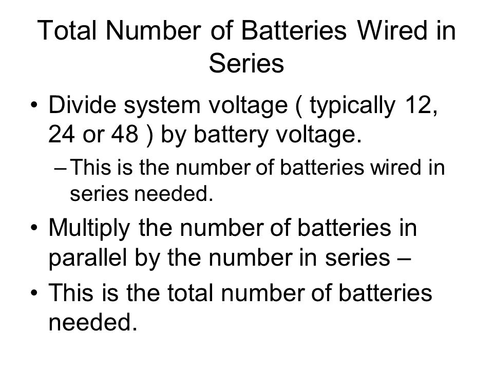 Total Number of Batteries Wired in Series