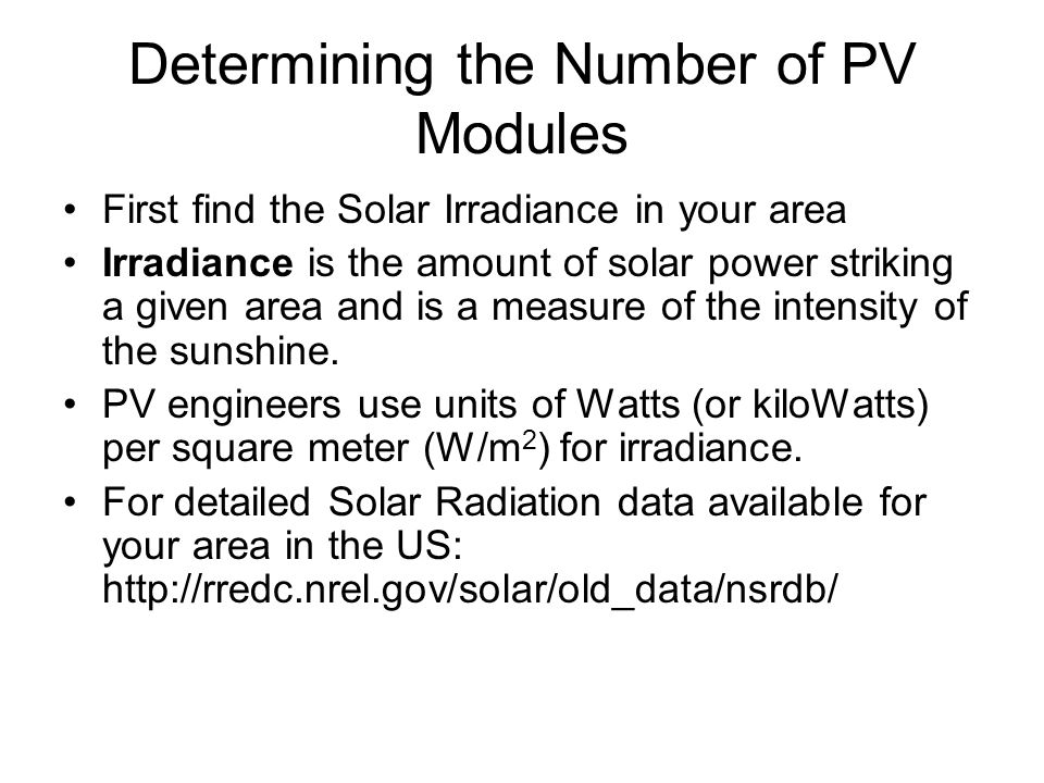 Determining the Number of PV Modules