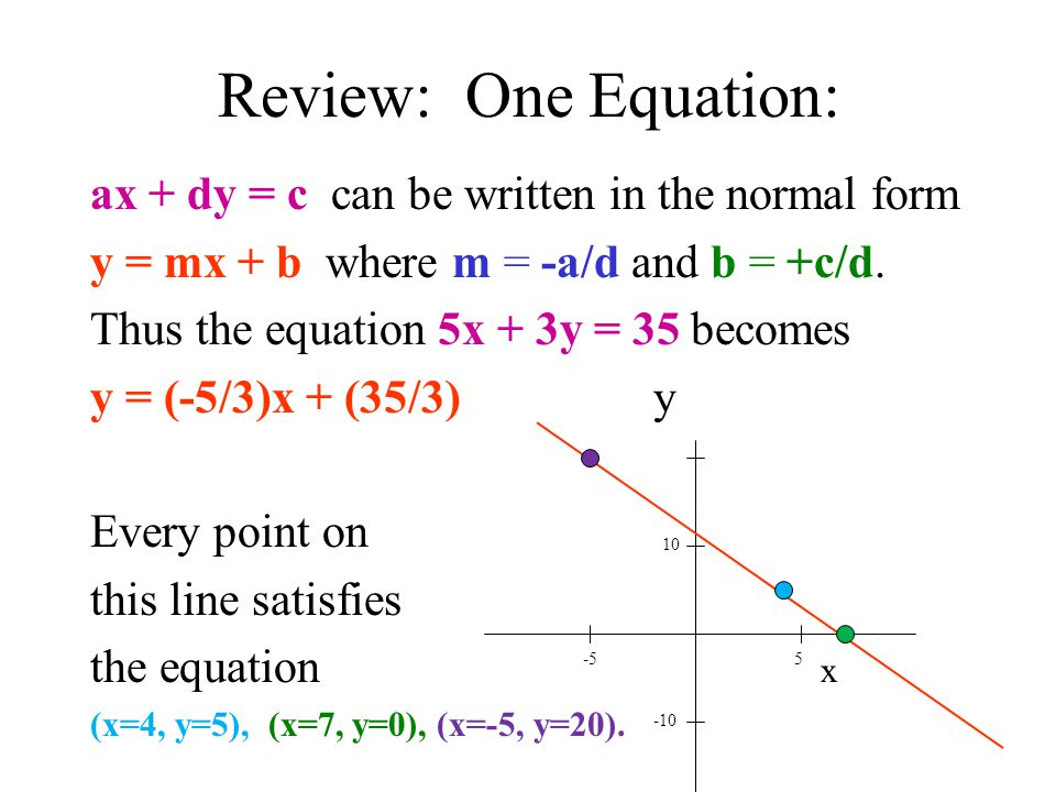 Review: One Equation: ax + dy = c can be written in the normal form