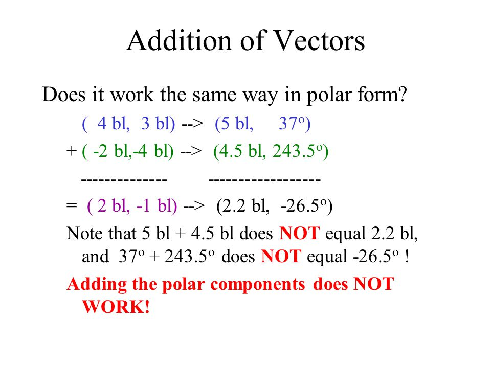 Addition of Vectors Does it work the same way in polar form