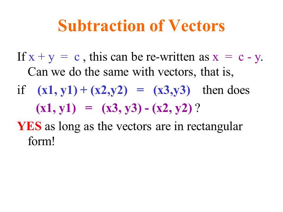Subtraction of Vectors