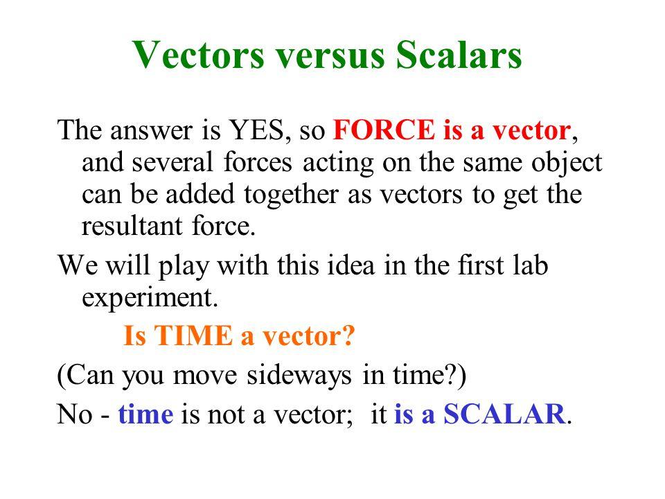 Vectors versus Scalars