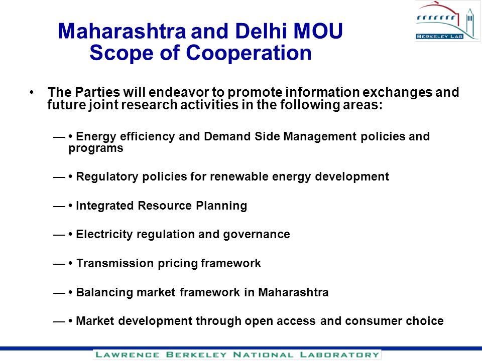 Maharashtra and Delhi MOU Scope of Cooperation
