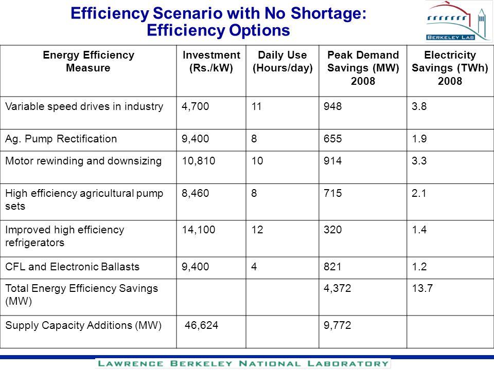 Efficiency Scenario with No Shortage: Efficiency Options