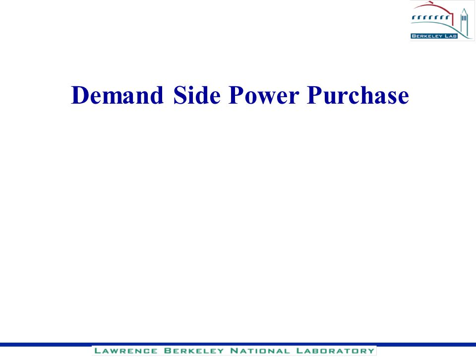 Demand Side Power Purchase