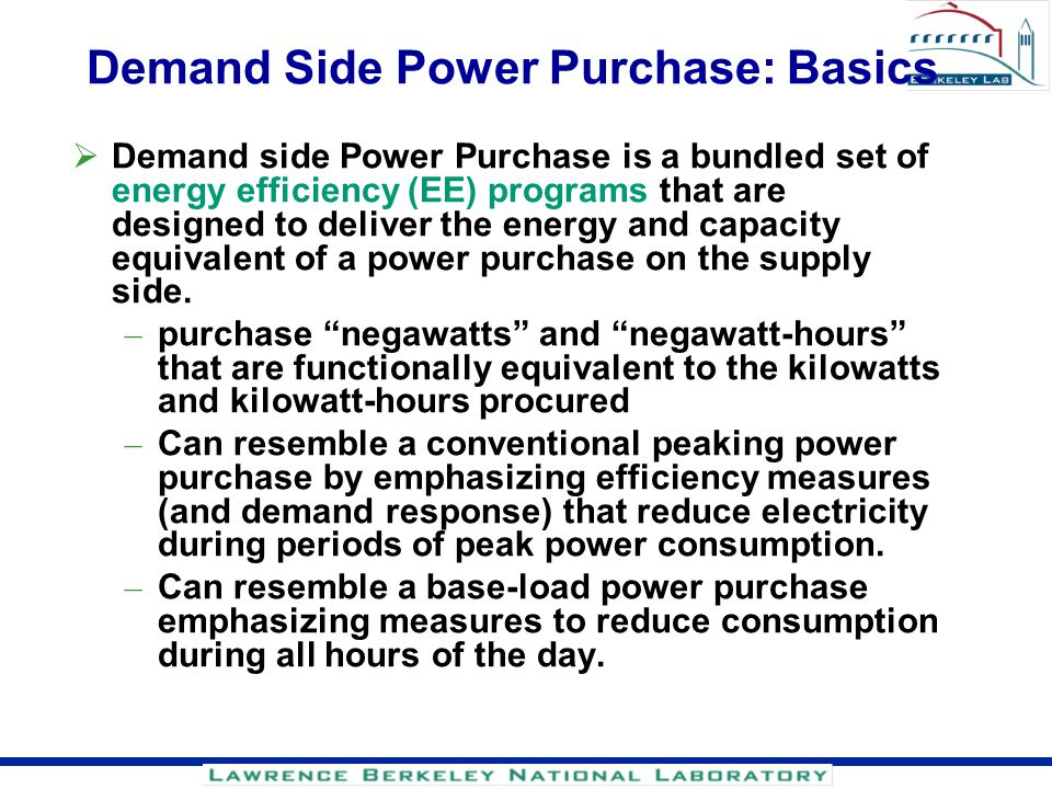 Demand Side Power Purchase: Basics