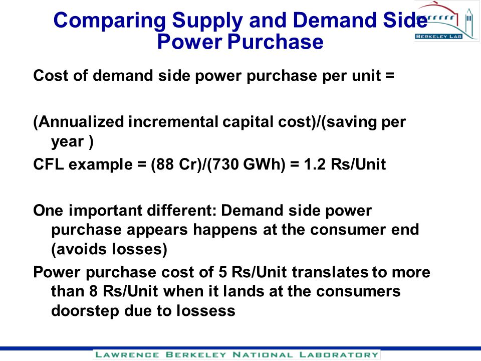 Comparing Supply and Demand Side Power Purchase