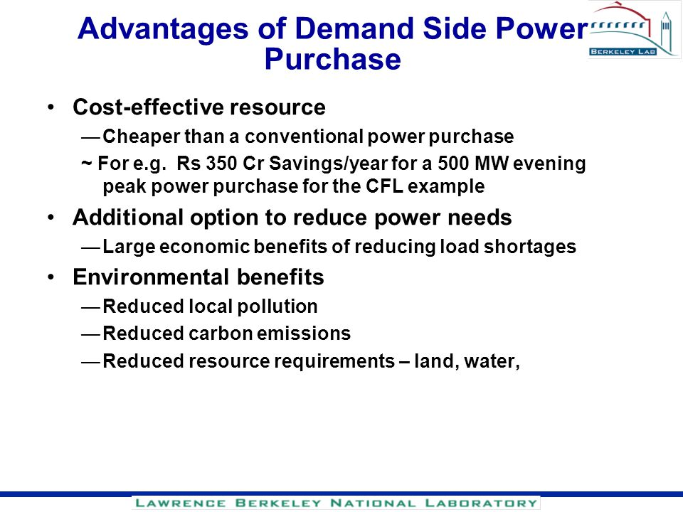 Advantages of Demand Side Power Purchase