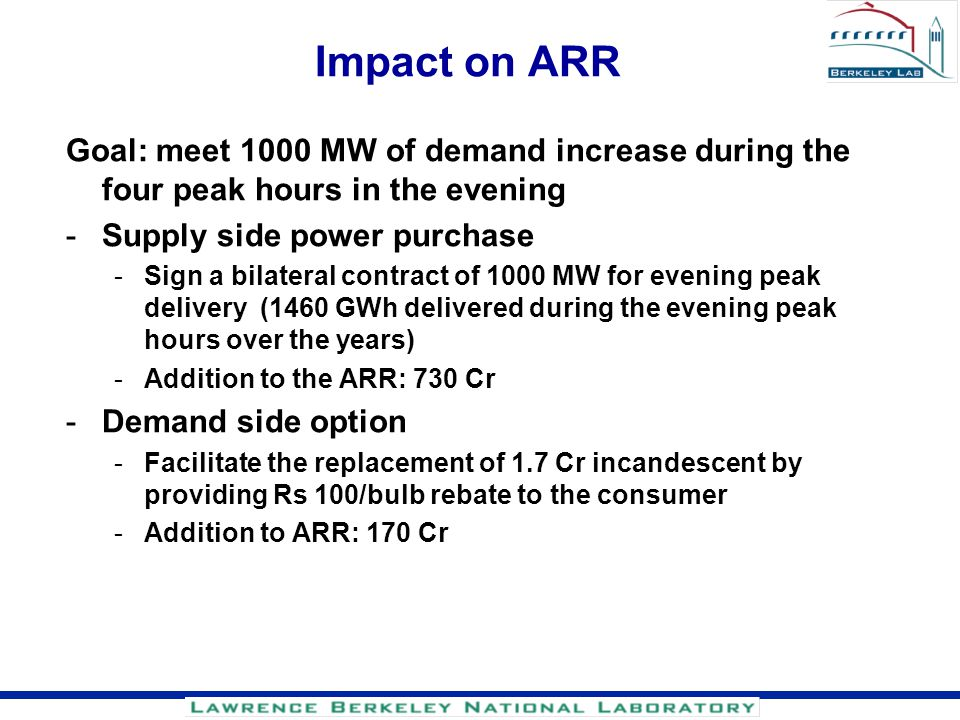 Impact on ARR Goal: meet 1000 MW of demand increase during the four peak hours in the evening. Supply side power purchase.