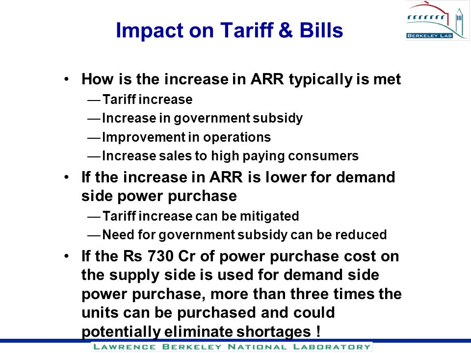 Impact on Tariff & Bills