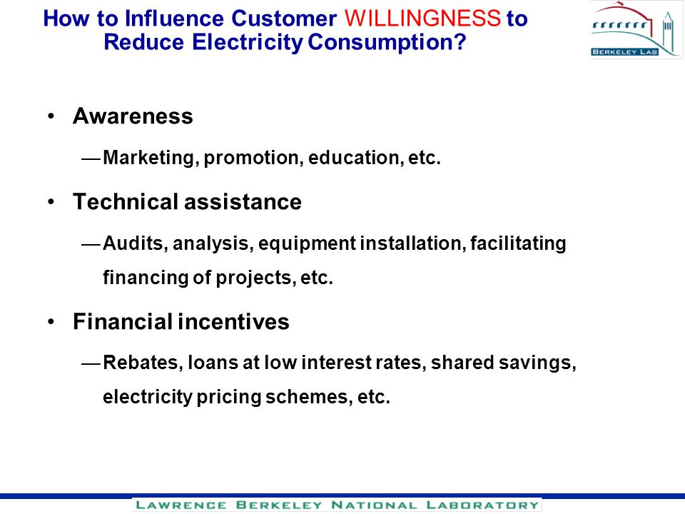 How to Influence Customer WILLINGNESS to Reduce Electricity Consumption