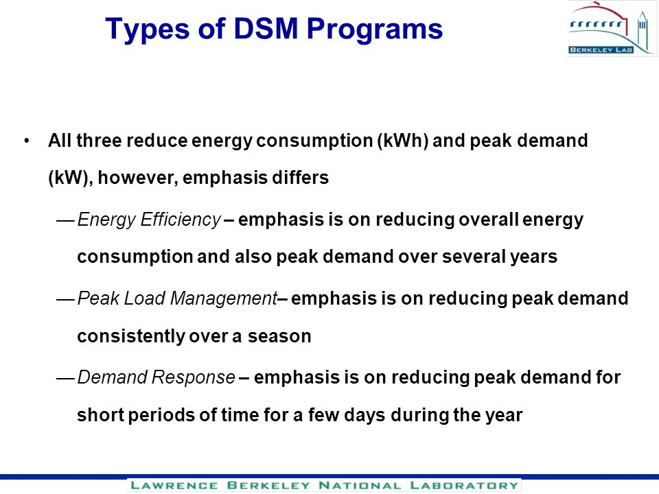Types of DSM Programs All three reduce energy consumption (kWh) and peak demand (kW), however, emphasis differs.