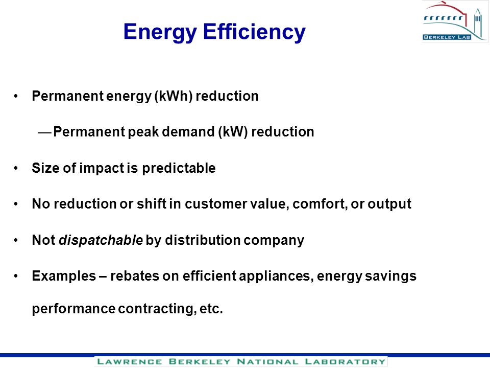 Energy Efficiency Permanent energy (kWh) reduction