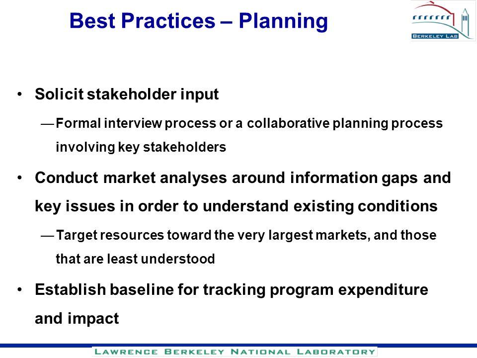 Best Practices – Planning