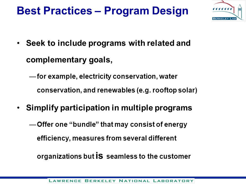 Best Practices – Program Design