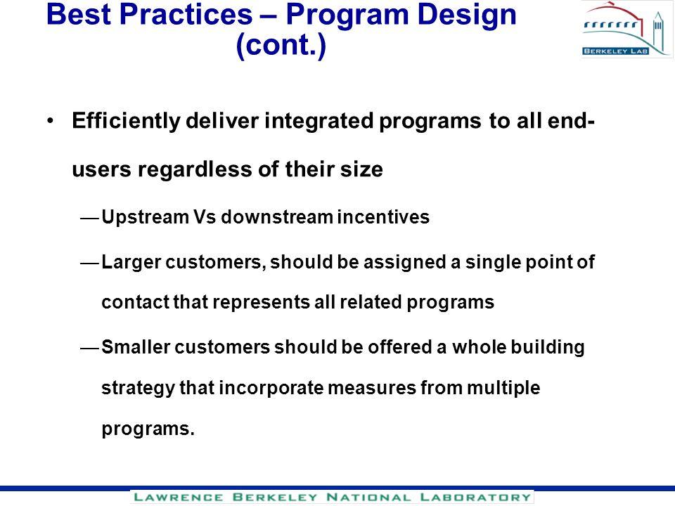 Best Practices – Program Design (cont.)
