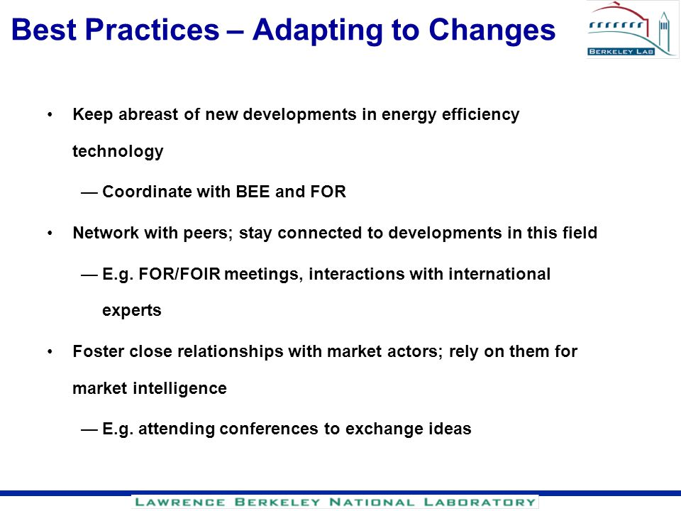 Best Practices – Adapting to Changes