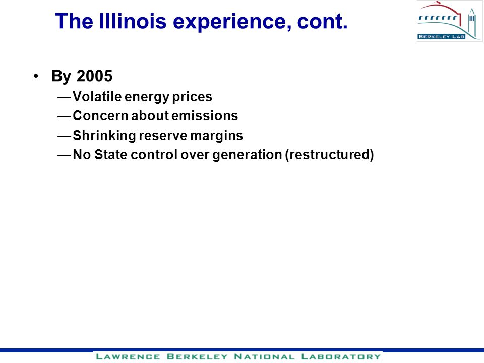 The Illinois experience, cont.
