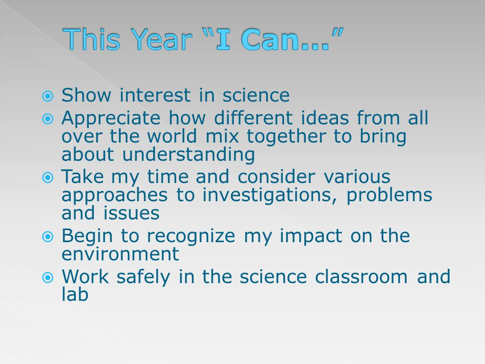 This Year I Can... Show interest in science