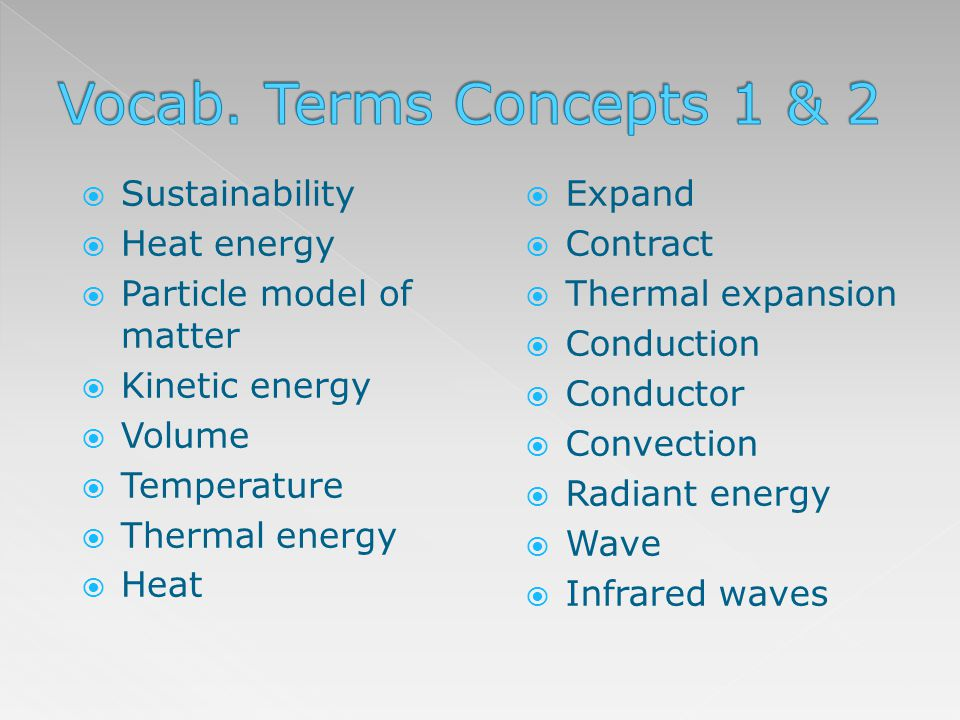 Vocab. Terms Concepts 1 & 2 Sustainability Heat energy
