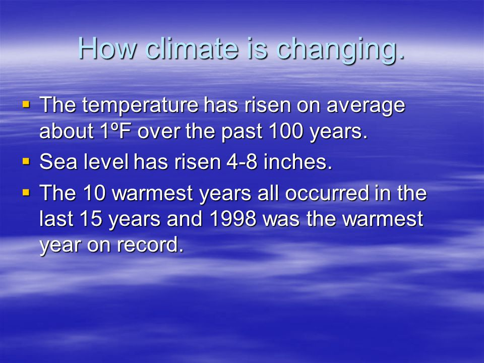 How climate is changing.