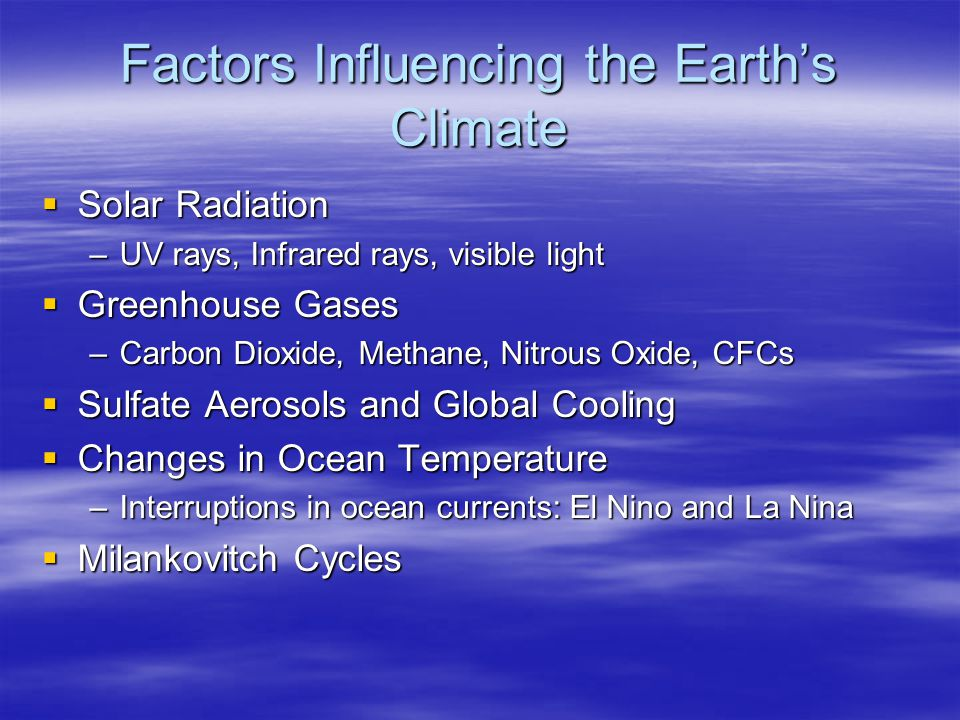 Factors Influencing the Earth's Climate