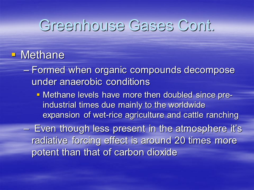 Greenhouse Gases Cont. Methane