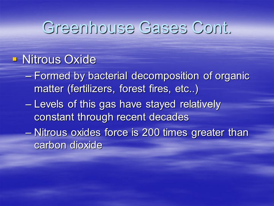 Greenhouse Gases Cont. Nitrous Oxide