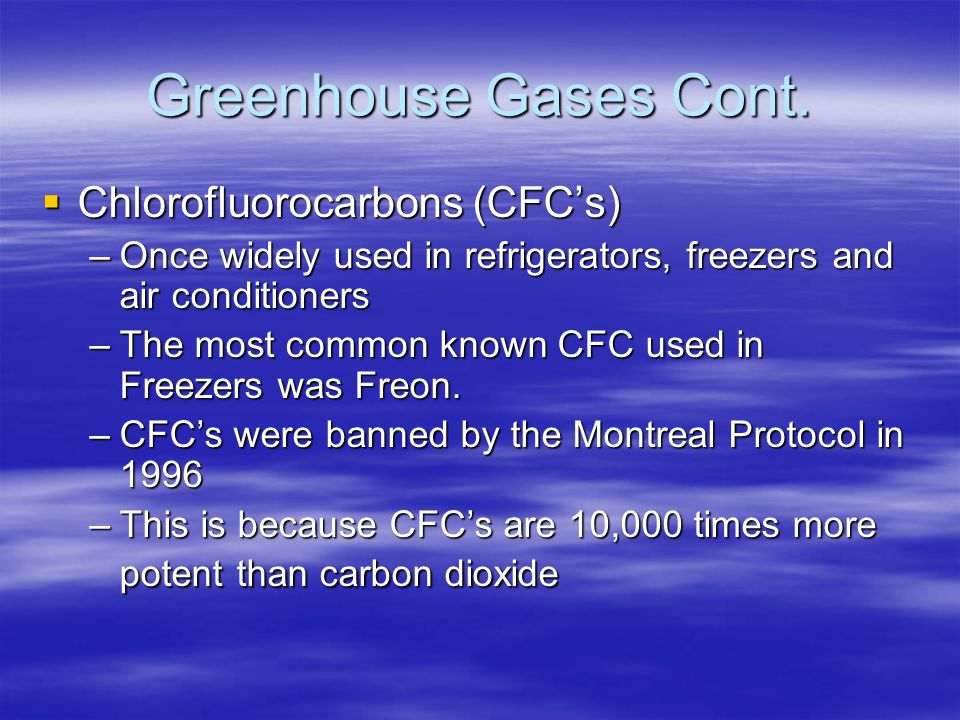 Greenhouse Gases Cont. Chlorofluorocarbons (CFC's)
