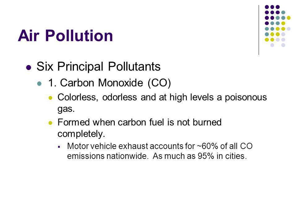 Air Pollution Six Principal Pollutants 1. Carbon Monoxide (CO)