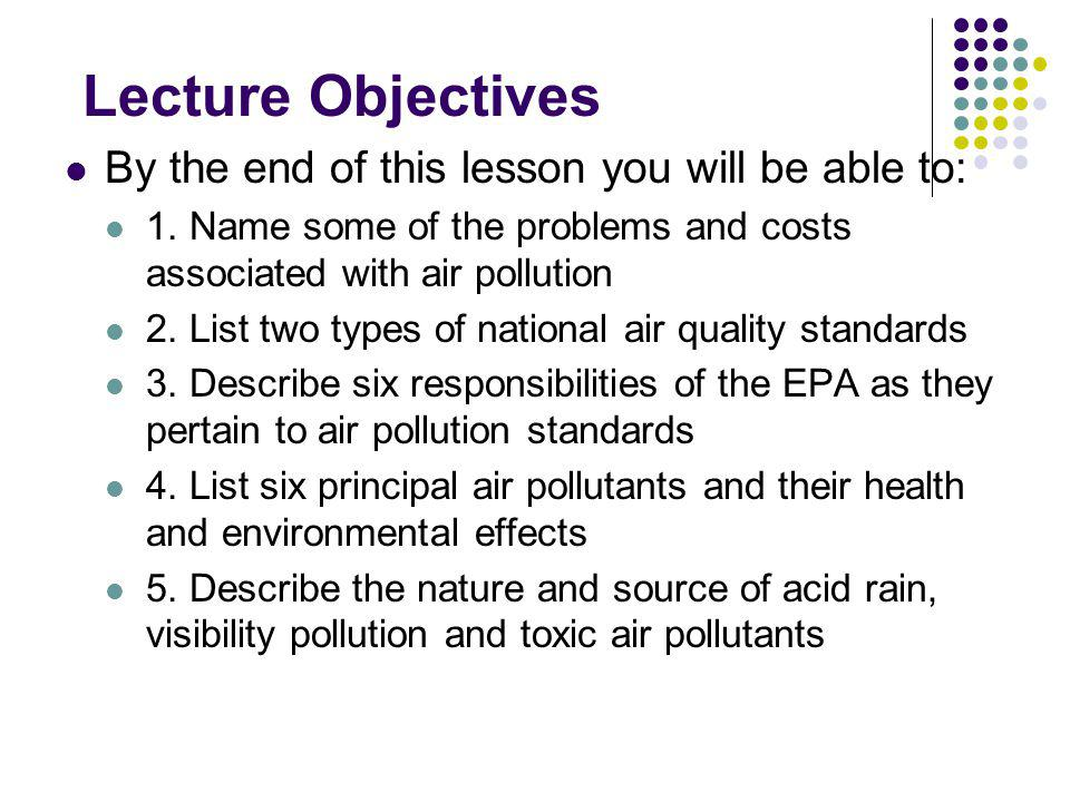 Lecture Objectives By the end of this lesson you will be able to: