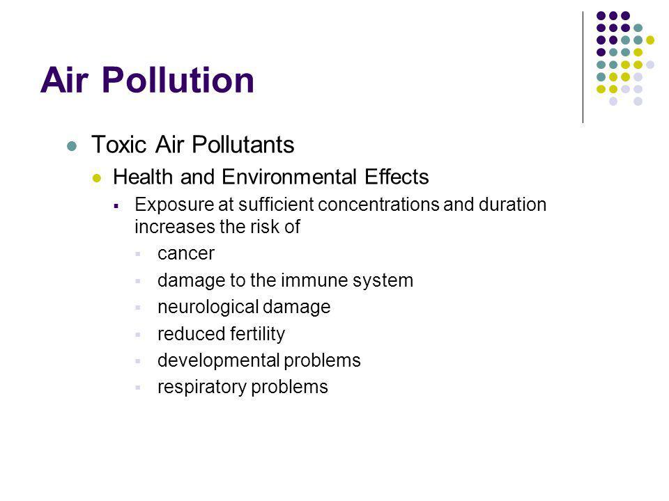 Air Pollution Toxic Air Pollutants Health and Environmental Effects