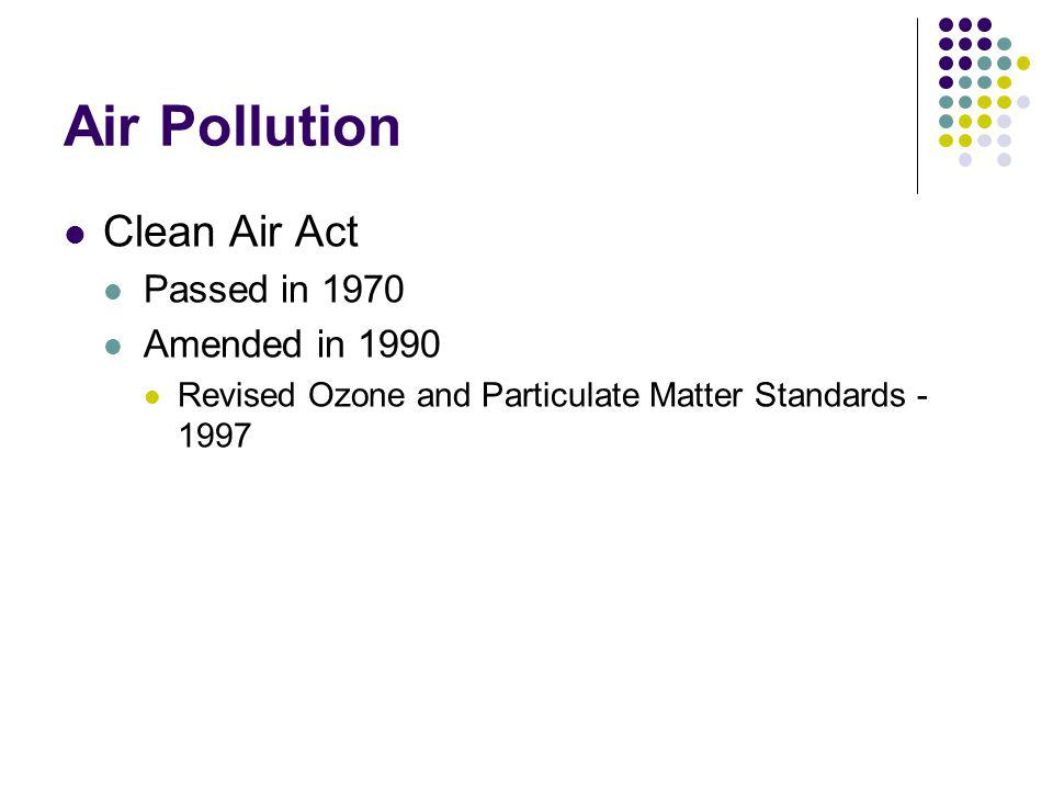 Air Pollution Clean Air Act Passed in 1970 Amended in 1990