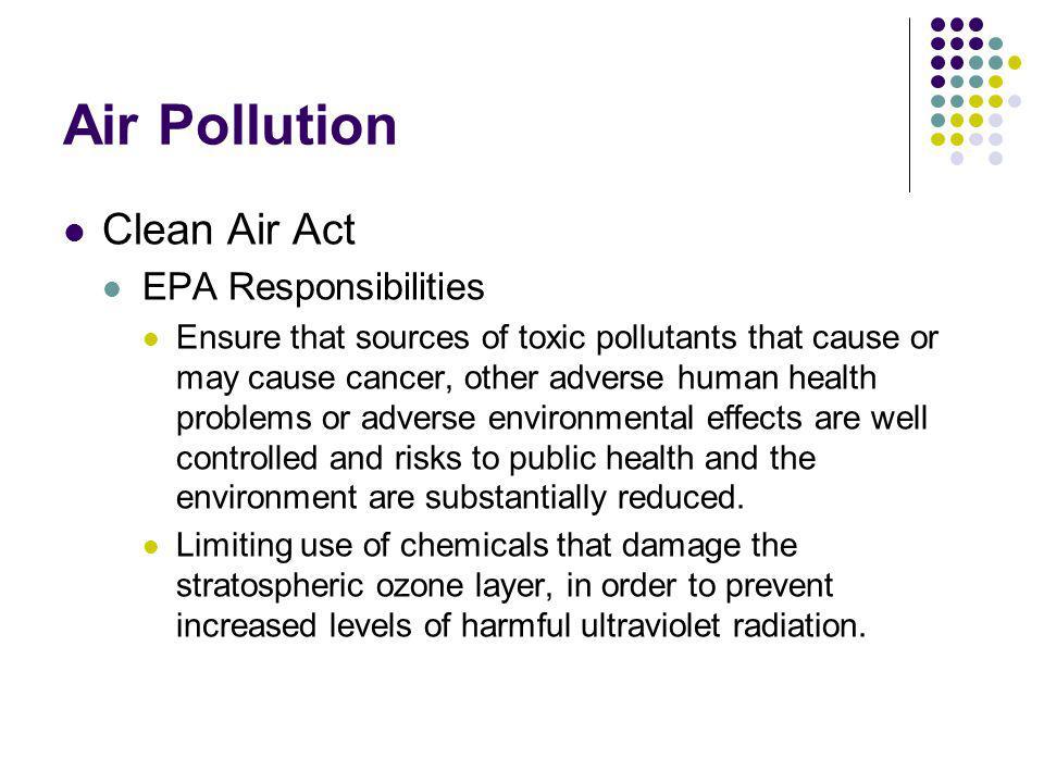 Air Pollution Clean Air Act EPA Responsibilities
