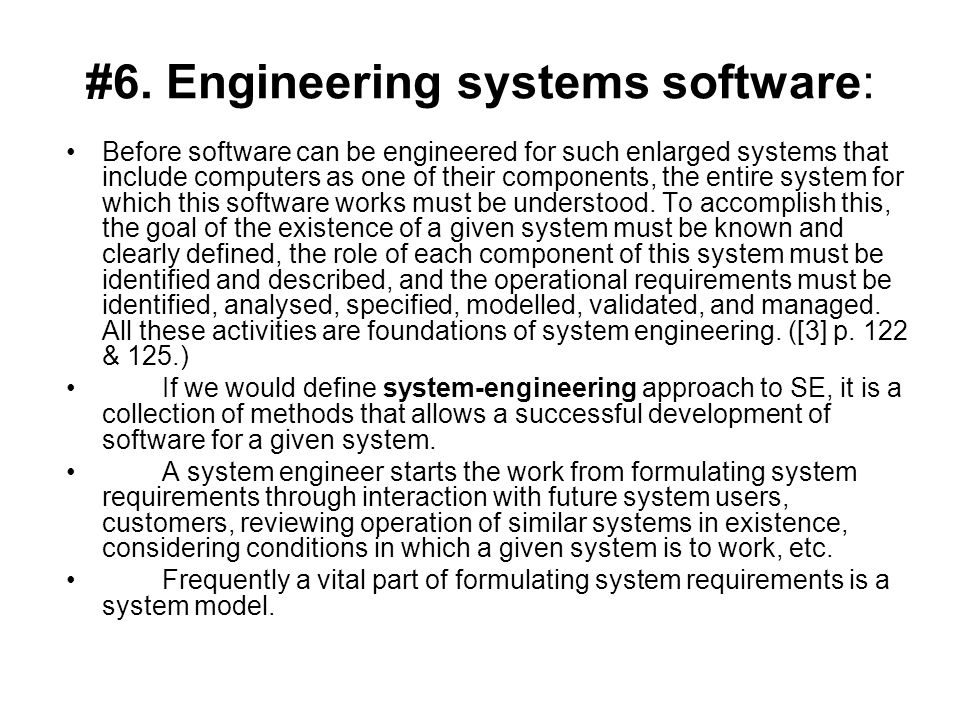 #6. Engineering systems software: