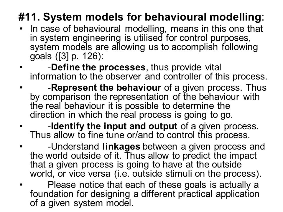 #11. System models for behavioural modelling: