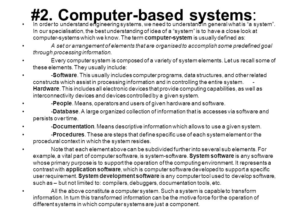 #2. Computer-based systems: