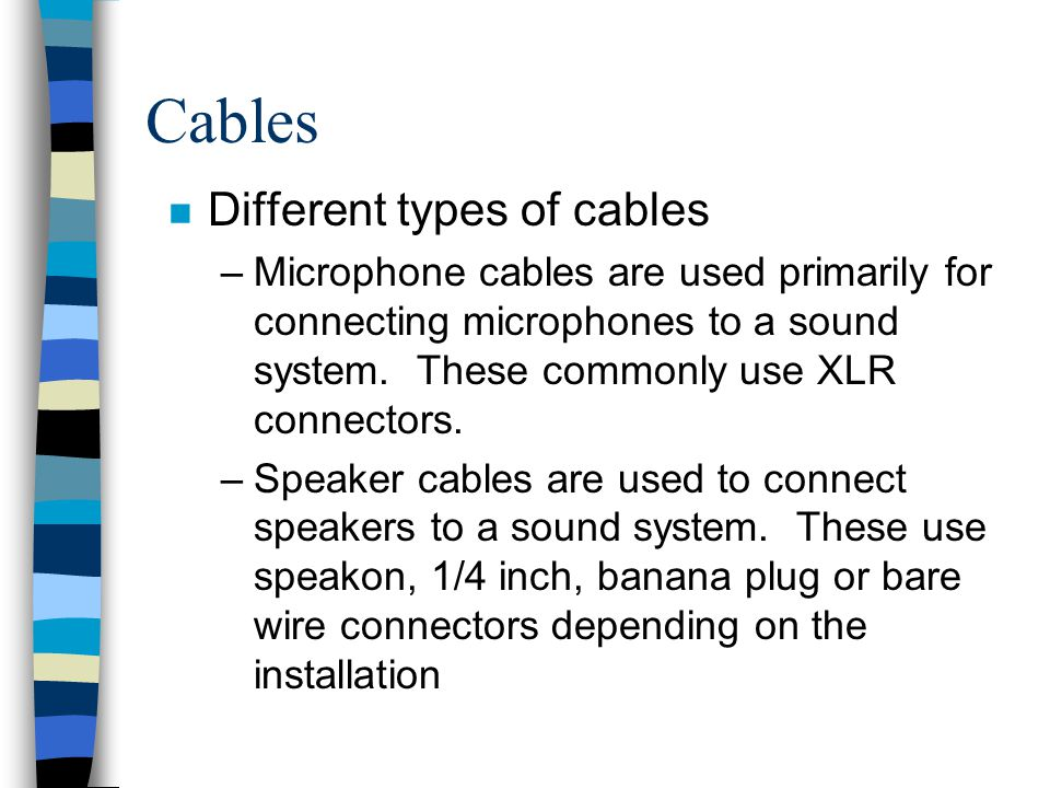 Cables Different types of cables