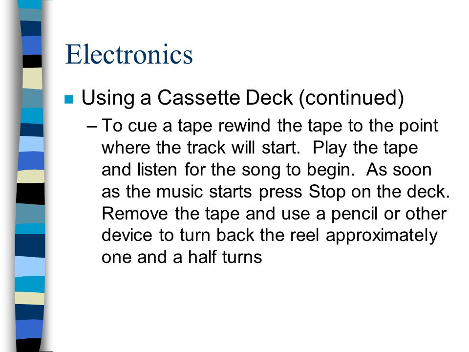 Electronics Using a Cassette Deck (continued)