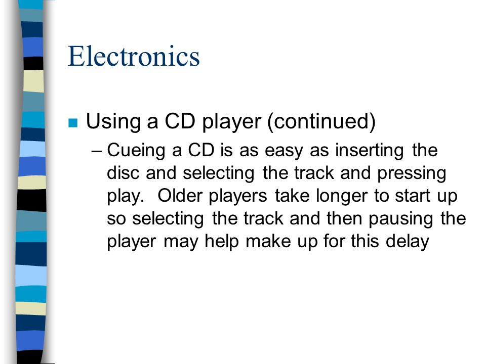 Electronics Using a CD player (continued)