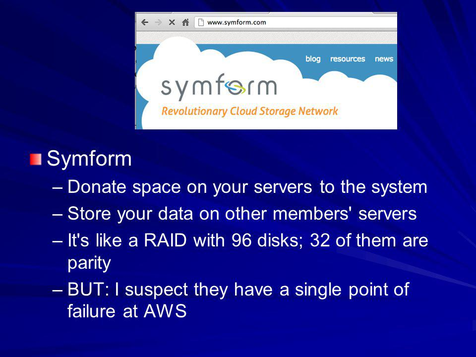 Symform Donate space on your servers to the system