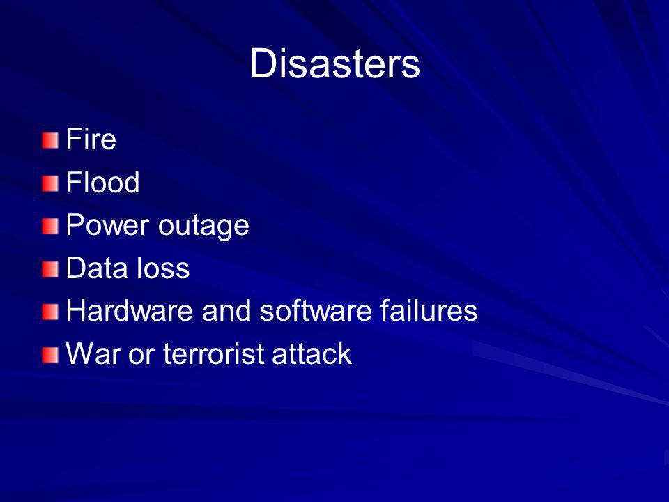 Disasters Fire Flood Power outage Data loss