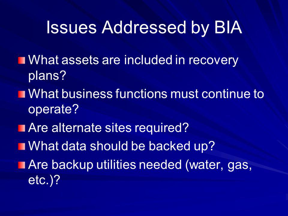 Issues Addressed by BIA