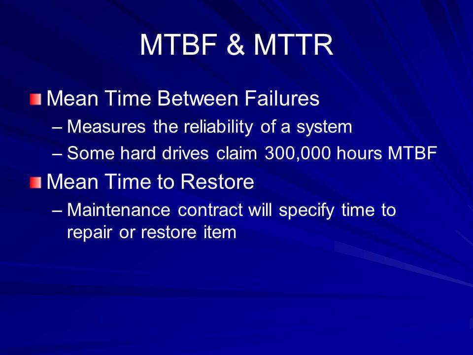 MTBF & MTTR Mean Time Between Failures Mean Time to Restore