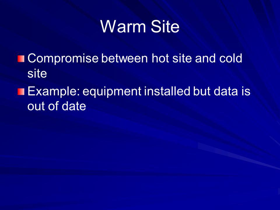 Warm Site Compromise between hot site and cold site